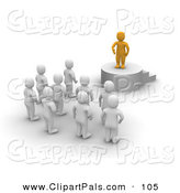 Pal Clipart of a 3d Orange Man Standing on a Podium and Speaking to Blanco Men by Jiri Moucka