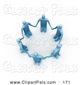 Pal Clipart of a 3d Ring of Blue People on Their Knees in a Circle on White by 3poD