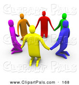 Pal Clipart of a 3d Ring of Colorful People Kneeling and Holding Hands in a Circle by 3poD