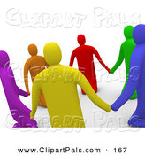 Pal Clipart of a 3d Ring of Colorful People Praying and Holding Hands in a Circle by 3poD
