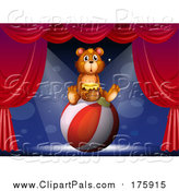 Pal Clipart of a Bear Sitting on a Ball and Holding a Honey Jar by Graphics RF