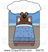Pal Clipart of a Bear Sleeping in a Bed Under a Dream Cloud by Cory Thoman