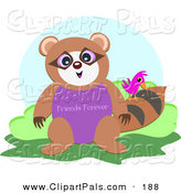 Pal Clipart of a Bird on a Brown Raccoon with a Friends Forever Belly by