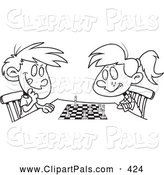 Pal Clipart of a Black and White Boy and Girl Playing Chess by Toonaday
