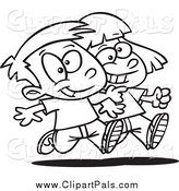 Pal Clipart of a Black and White Boy and Girl Walking Arm in Arm by Toonaday