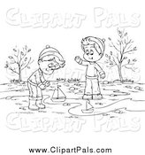 Pal Clipart of a Black and White Boys Playing with Boats in a Creek by Alex Bannykh