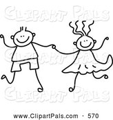 July 25th, 2013: Pal Clipart of a Black and White Coloring Page of a Boy and Girl Holding Hands by Prawny
