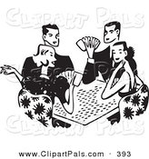Pal Clipart of a Black and White Group of Four Retro Adults Playing Poker by BestVector