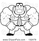 Pal Clipart of a Black and White Lineart Brute Muscular Businessman Smiling by Cory Thoman
