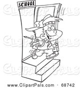 Pal Clipart of a Black and White Lineart School Boy Running out the Door by Toonaday