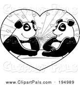 Pal Clipart of a Black and White Panda Couple in a Heart by Cory Thoman