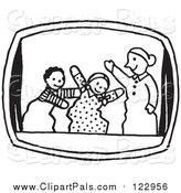 Pal Clipart of a Black and White Puppet Show Scene by Picsburg