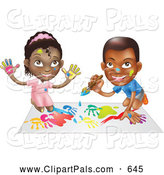 Pal Clipart of a Black Boy and Girl Hand Painting and Painting Together, on White by AtStockIllustration
