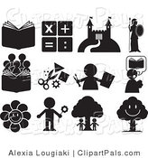 Pal Clipart of a Black Set of Educational and Entertainment Icons by Alexia Lougiaki