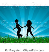 Pal Clipart of a Black Silhouetted Boy and Girl Holding Hands and Running Through Green Grass with a Bursting Blue Sky Background by KJ Pargeter