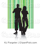 Pal Clipart of a Black Silhouetted Couple Standing Shoulder to Shoulder on a Green Striped Background by KJ Pargeter