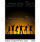 Pal Clipart of a Black Silhouetted Dancers over Glowing Orange and Black by KJ Pargeter
