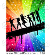 May 20th, 2013: Pal Clipart of a Black Silhouetted People Dancing on a Grungy Bar over a Rainbow Swirling Starry Burst by KJ Pargeter