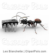 Pal Clipart of a Black Worker Ant Talking to a Micro Chip by Leo Blanchette