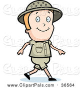 Pal Clipart of a Blond White Safari Boy Walking by Cory Thoman