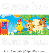 Pal Clipart of a Blue Bird on a Red Train, Watching a Chick, Tiger and Goat Play in a Field of Flowers on a Sunny Spring Day by Alex Bannykh