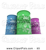 Pal Clipart of a Blue, Green and Pink Power, Friend and Love Barrels on White by Frank Boston