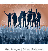 Pal Clipart of a Blue Group of Silhouetted Girls Raising Their Arms and Celebrating on Stage at a Concert by AtStockIllustration