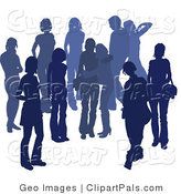 Pal Clipart of a Blue Group of Silhouetted People Hanging out in a Crowd Together, Two Friends Embracing in the Middle by AtStockIllustration