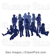 Pal Clipart of a Blue Group of Silhouetted People Hanging out Together in a Crowd by AtStockIllustration
