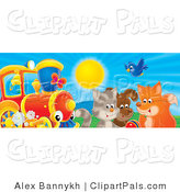 Pal Clipart of a Bluebird, Fox, Dog and Cat Playing with a Ball near a Red and White Train on a Sunny Day by Alex Bannykh