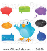 Pal Clipart of a Bluebird with Colorful Speech and Thought Bubbles by