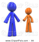 Pal Clipart of a Blurred 3d Orange Factor Man Reaching for a Blue Man on White by Leo Blanchette