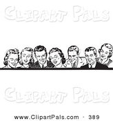 Pal Clipart of a Border of Retro Laughing Men and Women in Black and White by BestVector