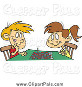 Pal Clipart of a Boy and Girl Playing Chess Together by Toonaday