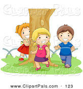 Pal Clipart of a Boy and Two Girls Chasing Each Other Around a Tree by BNP Design Studio