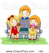 Pal Clipart of a Boy and Two Girls Eating Ice Cream While Sitting on a Bench by BNP Design Studio