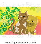 Pal Clipart of a Brown Dog and Kitten on a Floral Background by Mayawizard101