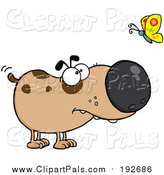 Pal Clipart of a Brown Dog Watching a Butterfly by Hit Toon