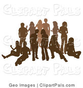 Pal Clipart of a Brown Group of Silhouetted People Standing Together in a Crowd by AtStockIllustration
