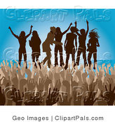 Pal Clipart of a Brown Group of Silhouetted Women Raising Their Arms and Dancing on Stage at a Concert by AtStockIllustration