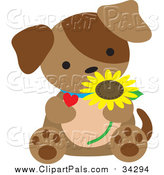 Pal Clipart of a Brown Puppy Sitting with a Daisy and Heart by Maria Bell