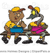 Pal Clipart of a Brown Wombat and Emu Sitting on a Bench and Eating Lunch by Dennis Holmes Designs