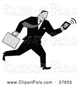 Pal Clipart of a Businessman Running with a Briefcase and Tablet by Hit Toon
