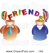 Pal Clipart of a Businses Man and Woman with Friend Brains on White by Prawny