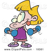 Pal Clipart of a Cartoon Blond White Little Girl Lifting Dumbbells by Toonaday