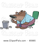 Pal Clipart of a Cartoon Bored Business Bear Tossing Paper in the Trash by Toonaday