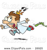 Pal Clipart of a Cartoon Brunette White Boy on Fire During a Science Experiment by Toonaday