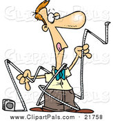 Pal Clipart of a Cartoon Caucasian Man Trying to Use Measuring Tape by Toonaday