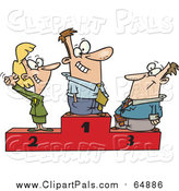 Pal Clipart of a Cartoon Podium of First, Second and Third Place Happy Business People by Toonaday