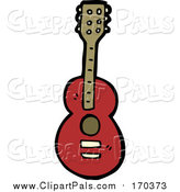 Pal Clipart of a Cartoon Red Guitar by Lineartestpilot